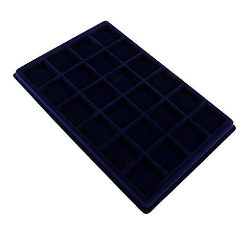 Sharplace Boîte Coffret Présentoir Velours pour Bijoux Bracelet - Bleu 24 Compartiments