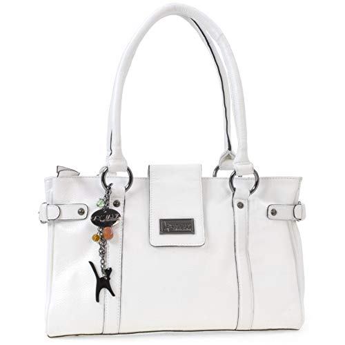 Catwalk Collection Handbags - Vera Pelle - Borsa a Spalla/Borse a Mano - Con Ciondolo a Forma di Gatto - Martina - BIANCO