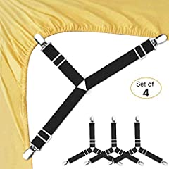 HIGH QUALITY MATERIAL: This Bed Sheet Fasteners are made of sturdy chrome metal clips and heavy duty elastic bungee cords that will grip your bed sheets firmly. Easy to put on and keeps sheets in place and no more fixing sheets, adjustable length all...
