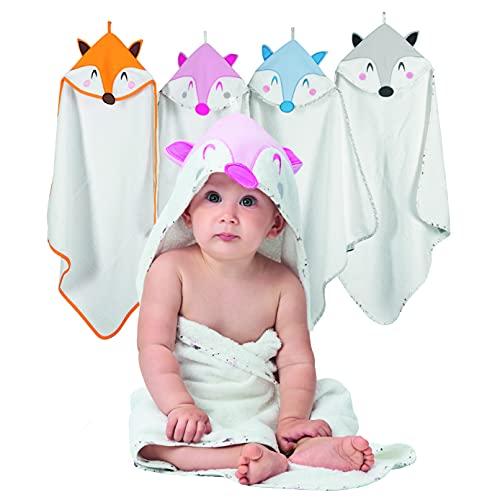 Asciugamano Neonati - 100% Spugna di Cotone Bio, Certificato OEKO TEX - Accappatoio neonato 70x70 cm, 0-12 Mesi - Rosa