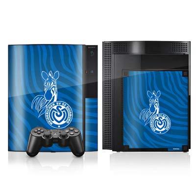 DeinDesign Skin kompatibel mit Sony Playstation 3 Folie Sticker Zebra MSV Duisburg Fanartikel