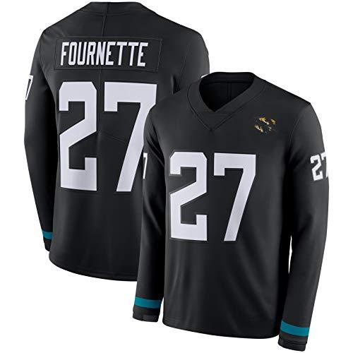 LKJHGFD Fournete 27# Langarm American Football Jersey, Jáguàrs # 27 Herren Rugby Jersey, Herren Bequeme Sweatshirt Training T-Shirt Black-S