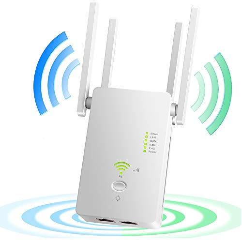 AndThere Repetidor WiFi WiFi, 1200 m, amplificador de señal WiFi de doble banda para Office Home, 2,4/5,8 GHz, repetidor de...