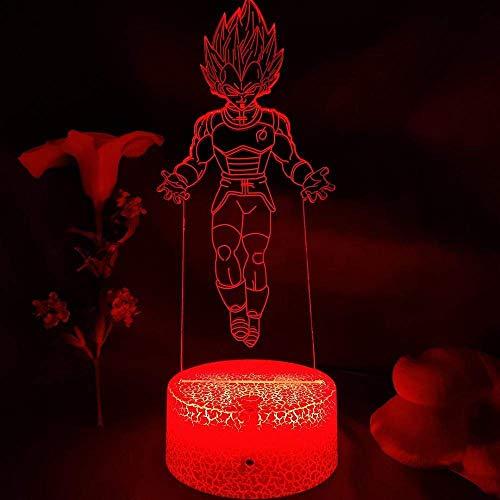 Dragón Bola Vegeta IV Figura Manga Arte LED Luz de Noche Luz 3D Illusión Tacto Lámpara de Sensor de Tacto Decoración para el hogar Niños Dormitorio Bedding-Lava Lamp Base_7 Color No Remoto