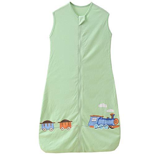 Saco de dormir de verano y primavera para bebé, recién nacido, de algodón, 0,5 tog 130 cm (3-6 años), tren verde