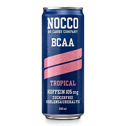 NOCCO BCAA Tropical 24 x 330ml inkl. Pfand Proteinreiches Energy - Getränk ohne Zucker No Carbs Company Vitamin- und Koffein-Boost Kohlensäurehaltige Sportgetränke für Muskelleistung und