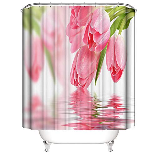 Shocur Floral Shower Curtain, Pretty Pink Tulip and Clear Lake Water, 72 x 72 Inches Love Theme Bath Curtain, Polyester Fabric Bathroom Decor Set with 12 Hooks