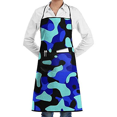 Camo Deluxe Babyschort Blueblack en lichtgroen, uniseks, keukenkwaliteit, chef-schort, professionele party, heren, restaurant