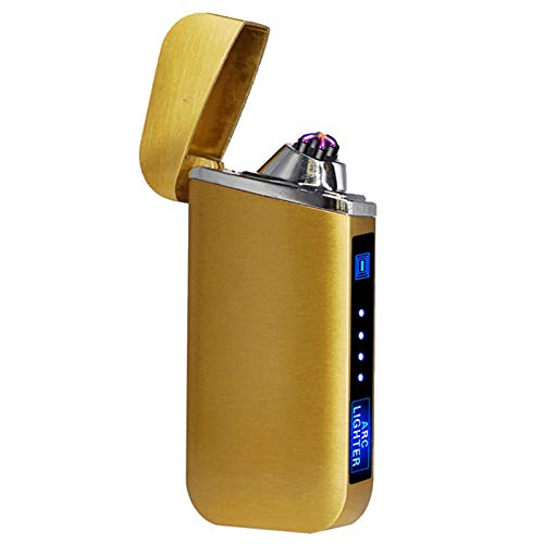 USB eléctrico encendedor de dedos impresión táctil fuego plasma doble arco encendedor a prueba de viento encendedor de cigarrillos de metal 319Gold