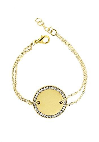 Remi Bijou Armband MIT Gravur Gravurplatte Münze mit Strass - Gold Farbe