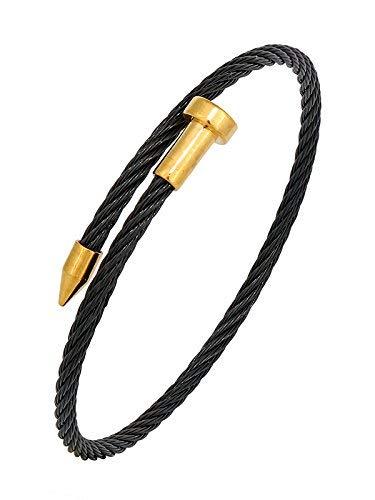 SataanReaper presenta pulsera de acero inoxidable quirúrgico 316 L chapada en oro negro para hombre #SR-1112