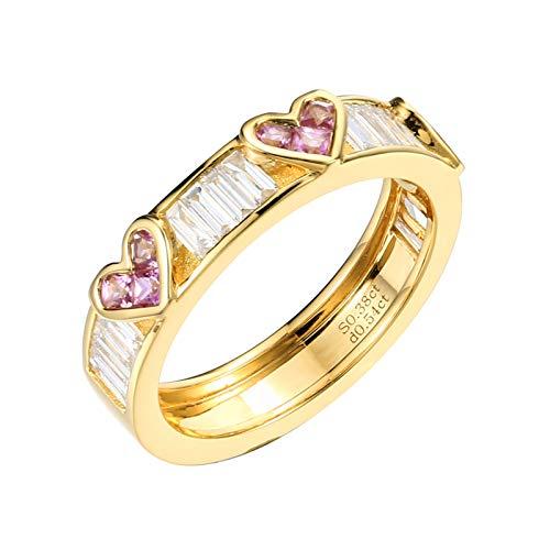 Socoz Mujer Unisex oro amarillo 18 quilates (750) corazón Pink Sapphire
