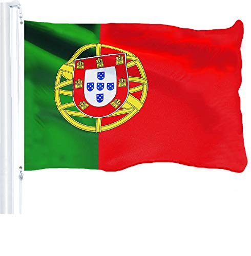 G128 - Portugal Portuguese Flag 3x5 ft Printed Brass Grommets 150D Quality Polyester Flag Indoor/Outdoor - Much Thicker More Durable Than 100D 75D Polyester