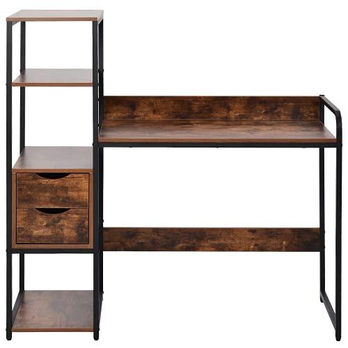 (Sale) Escritorio con estante, 2 cajones, mesa de trabajo, mesa de oficina en estilo industrial, gran superficie de mesa, de MDF y marco de metal negro, para el hogar, la oficina