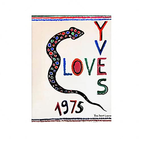 Vspgyf Love 1975, Yves Saint Laurent, Wall Art Home Decor, Love Printable, Arte e Oggetti da Collezione, Poster di Moda -50x70cmx1pcs -Senza Cornice