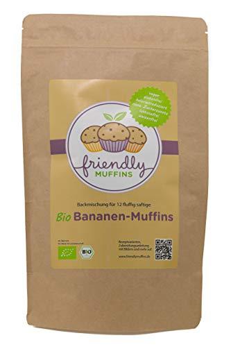 friendlyMUFFINS Bio Muffins Backmischung | Vegan | Glutenfrei | Weizenfrei | Ohne Zuckerzusatz | Lower Carb | Laktosefrei | Kalorienreduziert (Banane, 350 g)