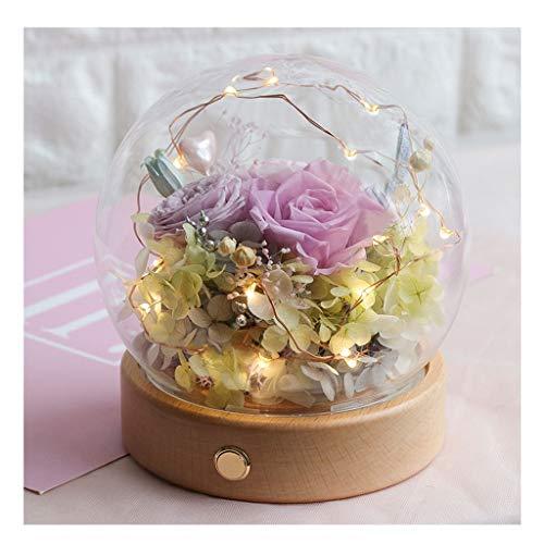 DEF Flor preservada de la Flor eterna de la Rosa con la luz del LED, Regalo romántico del día de la Madre del Aniversario del día de San Valentín de la Mujer (Color : M-2)
