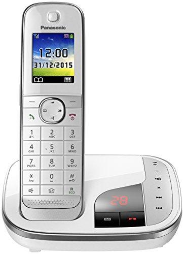 Panasonic KX-TGJ320GW Familien-Telefon mit Anrufbeantworter/ DECT Basisstation, schnurloses Telefon, strahlungsarm, weiß
