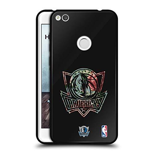Head Case Designs Ufficiale NBA Floreale 2019/20 Dallas Mavericks Cover Nera Ibrida in Vetro per Parte Posteriore Compatibile con Huawei P8 Lite (2017)