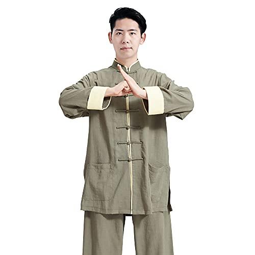 Tai Chi Kleidung Damen - Herren Kung Fu Kampfsportbekleidung Leinen Baumwolle Langarm Frühling Sommer Morgen Sportswear Übergröße,Green-Medium
