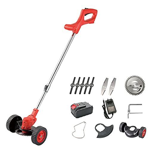 Electric Grass Mowers Trimmer, 21V 2000Mah Portable Walk-Behind Wireless Lawn Mower& Edger Cordless, Household Weeder Garden Pruning Tool Brush Cutter,4000MAh