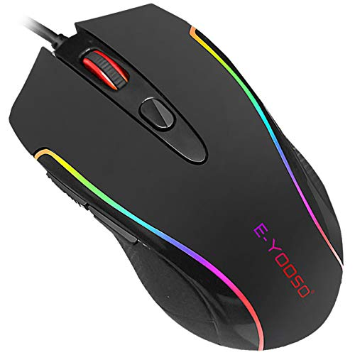 E-YOOSO Gaming Mouse Wired RGB Backlit 6 Programmable Buttons with Macro-Recording, 6400 DPI Adjustable, Ergonomic Gaming Mice with Fire Button PC Gamers for Windows 7/8/10/XP Vista Linux, Black