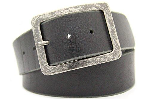 NISAR Echt LEDER Gürtel Herren Damen Büffelleder Voll-Leder Unisex Gürtel in Schwarz und Braun in 5cm Breite (115cm, Schwarz)