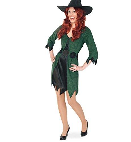KarnevalsTeufel Damen-Kostüm Waldhexe kurz mit Gürtel Hexe Kleid Halloween grün-schwarz Walpurgisnacht Geisterstunde (42)