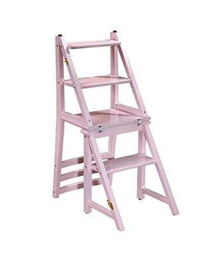 ZENGAI Bois Massif Échelle De Chaise Créatif Multifonctionnel Chaise D'escalier Escalez L'échelle Tabouret Pliable Échelle en bois Bibliothèque ( Couleur : 1# )