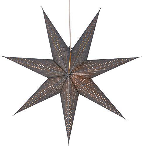 GURU SHOP Faltbarer Advents Leucht Papierstern, Weihnachtsstern 60 cm - Siddhartha Silver, Star Fensterdeko