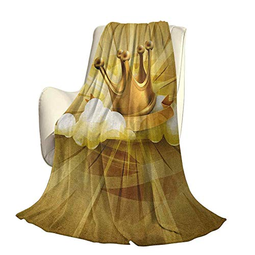 King Soft Plush Warm Blanket Suitable for All Seasons Medieval Fairytale Inspired Crown with Clouds Abstract Bold Striped Image Travel Home Office use W70 x L84 Inch White Yellow and Gold