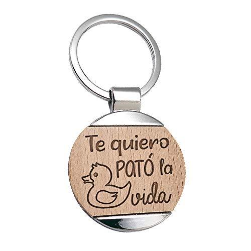 Llavero Te Quiero Pato La Vida Grabado en Madera - Llavero Frase...