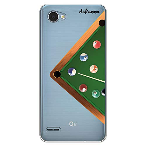 dakanna Kompatibel mit [LG Q6] Flexible Silikon-Handy-Hülle [Transparenter Hintergrund] Billardtisch Design, TPU Case Cover Schutzhülle für Dein Smartphone