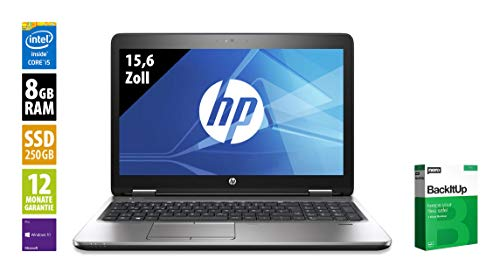 HP ProBook 650 G2 | Notebook | 15,6 Zoll | Core i5-6200U @ 2,3 GHz | 8GB RAM | 250GB SSD | DVD-RW | FHD (1920x1080) | Webcam | Windows 10 Pro (Zertifiziert und Generalüberholt)