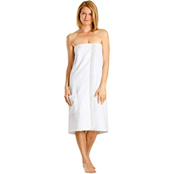 pour Femme SERVIETTE DE BAIN Serviette enveloppante avec poche Peignoir de sauna blanc Confortable 76 x 147 Saunasarong avec boutons 100/% coton Bio