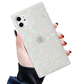 Manleno Square Case Compatible with iPhone 11 Case Cute Luxury Sparkle Design Girls Women Translucent Slim Glitter Protective Phone Case Soft Flexible TPU Silicone Cover 6.1 Inch  Opal