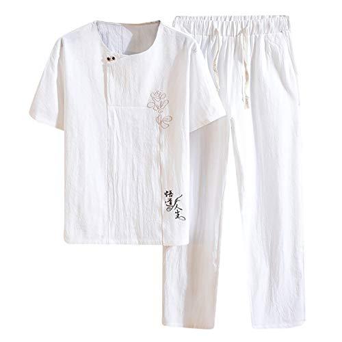 Conjunto de camiseta para hombre, de corte regular, de verano, de manga corta, estilo hippie y polo, holgado, informal, hippie, de manga corta, para la playa, pantalones cortos Blanco L