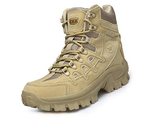 IYVW KKK 1201 Botas Militares para Hombres, Botas de montañismo Transpirables de Cuero para Exteriores Amarillo Desierto 42 EU