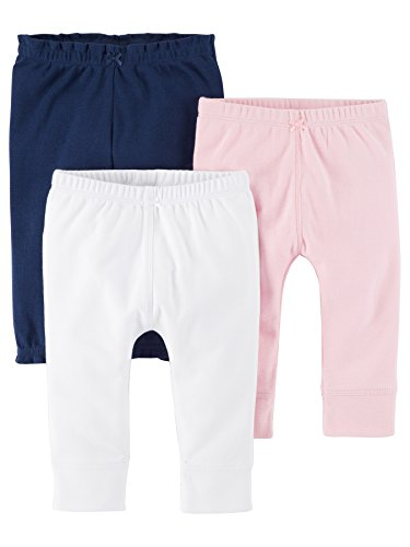 Carter's Baby Girls' 3-Pack Pants, Pink/Navy, 18 Months
