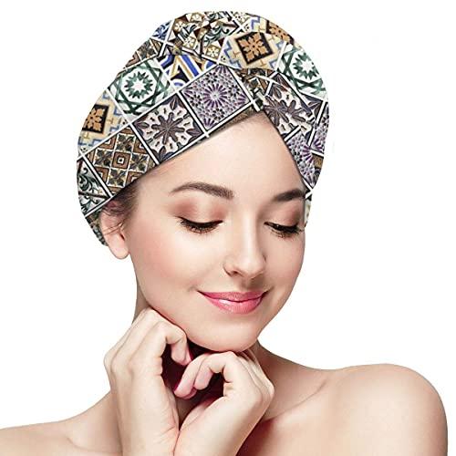 Toalla de secado de pelo para mujer con botón tradicional portugués patrón de azulejos suave absorbente microfibra envuelta tapa de baño Twist para cabello largo y rizado