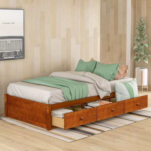 Twin Size Bed Frames Wooden Construction Bed Platform Storage Bed Frames with 3 Drawers for Teens Juniors Single Adults, No Headboard No Box Spring(Oak)