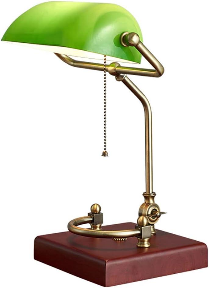 Table lamp Emerald Superlatite Green Glass Wooden 1920's Reading Elegant Light Base