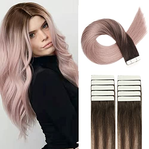 HUAYI Brown To Milky Lavender/Pink Mauve Ombre 50g 22inch 20Pcs Tape In Hair Extensions Human Hair Soft Thick End Tangle Durable Silky Straight Balayage Hair Extensions (2TG#22)