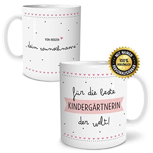 OWLBOOK Beste Kindergärtnerin Große Kaffee-Tasse mit Spruch im Geschenkkarton Personalisiert mit Namen Geschenke Geschenkidee für Erzieher-in Abschied Abschluß