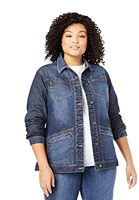 Woman Within Women's Plus Size Denim Jacket - 22/24, Indigo Sanded from Woman Within