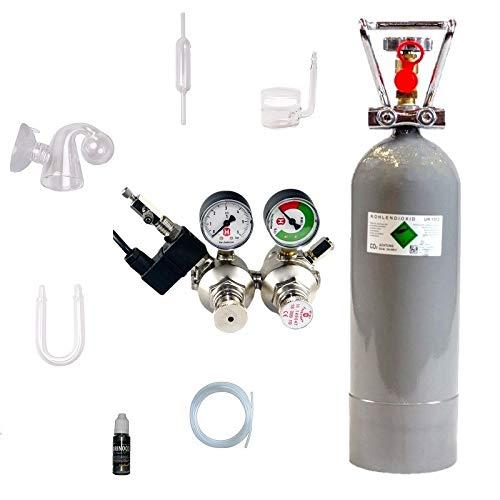 Hiwi CO2 Anlage 2000 Ultimate mit Doppelkammerdruckminderer, festmontiertes Magnetvetil Nachtabschaltung, Glaskomponenten, Druckminderer (Made in Germany), 2 KG CO2 Mehrwegflasche, gefüllt, NEU