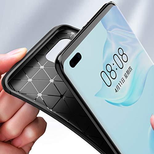 MISKQ Hülle für Huawei P40 Pro, Stoßfest Handyhülle Schutzhülle Shock Absorption Cover Ultra Schlank Softschale Silikon TPU (Brown) - 3