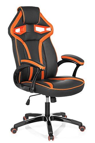*hjh OFFICE 722220 Racing Chefsessel GUARDIAN Kunstleder Schwarz/Orange Gaming Computer-Stuhl, Wippfunktion*