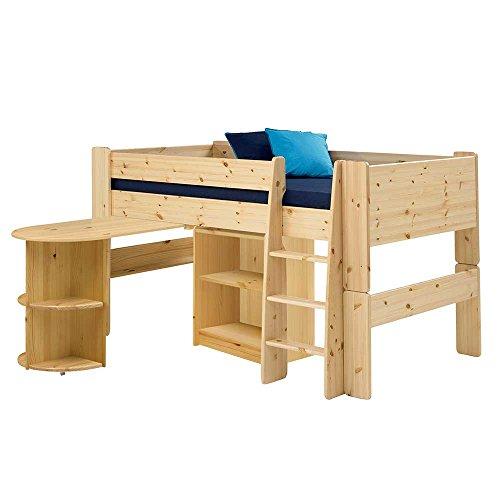 *Pharao24 Hochbett mit Schreibtisch und Regal Kiefer Massivholz*