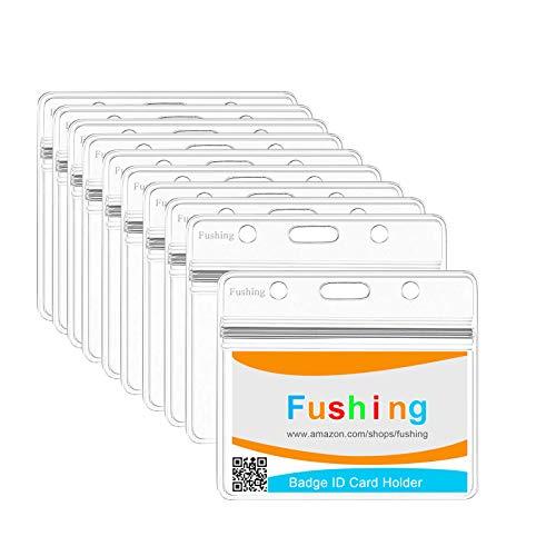 Fushing Lot de 50 cartes de supports supports horizontal Badge en plastique transparent, étiquette pour nom, Petit claire